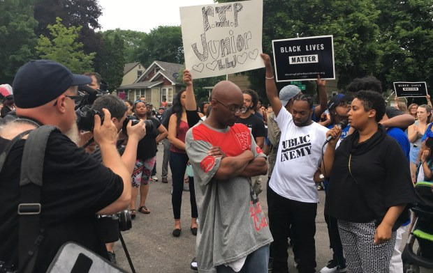 Former Minneapolis City Council candidate Raeisha Williams, whose brother was shot to death earlier this year, spoke Sunday, June 24, 2018, at a rally to protest the fatal police shooting of Thurman Blevins the night before. (Kristi Belcamino / Pioneer Press)