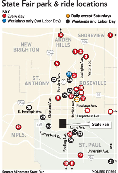 Minnesota State Fair parking, parking lots, park-and-rides