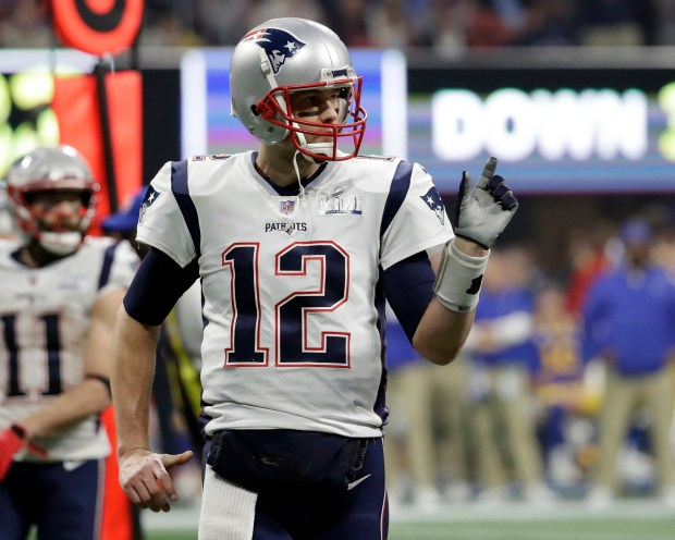 f482b618956 New England Patriots  Tom Brady (12) gestures during the second half of the  NFL Super Bowl 53 football game against the Los Angeles Rams