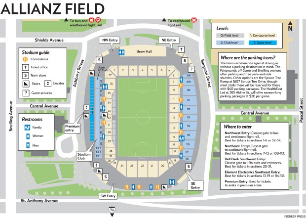 Allianz Field map with stadium, transit and parking information