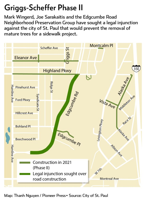Edgcumbe Road residents sue St. Paul over tree removal, new sidewalks