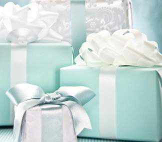 Group of blue and white gifts
