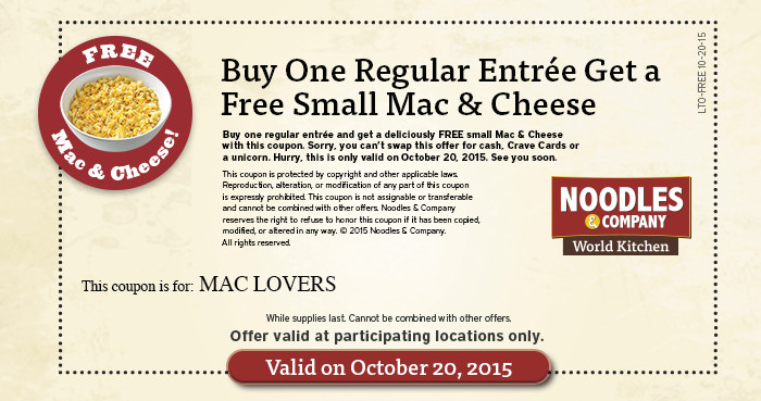 image relating to Noodles and Company Printable Coupons called Free of charge Mac Cheese with obtain at Noodles Organization