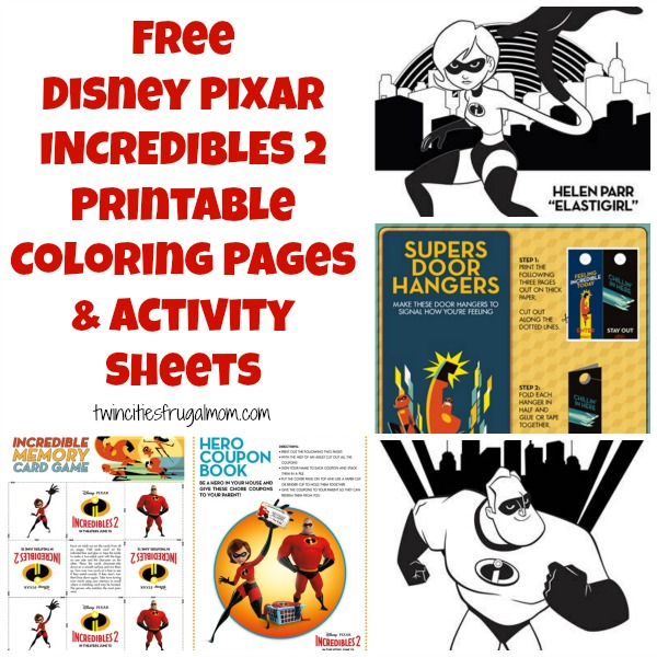 Free Disney Pixar Incredibles 2 Printable Coloring Pages Activity Sheets Twin Cities Frugal Mom