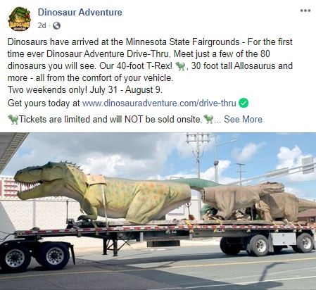 Dinosaur Adventure Facebook post