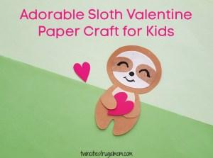 Adorable Sloth Valentine Paper Craft
