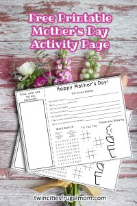 Free Printable Mother's Day Activity Page