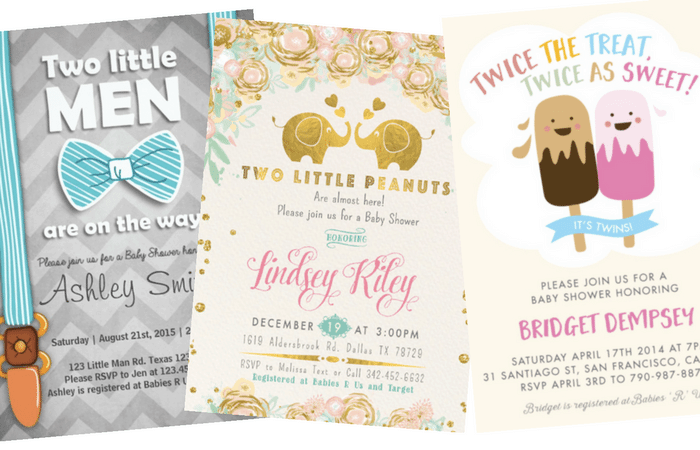 the best twins baby shower invites  twiniversity, Baby shower invitations