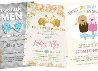 twins baby shower invites