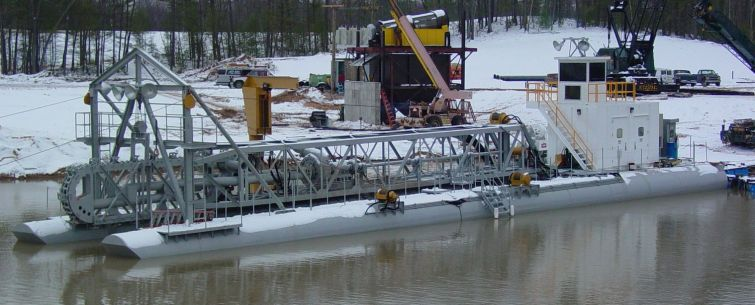 "14"" L-Series dredge with Linear Cutter, electric powered with 85' long ladder"