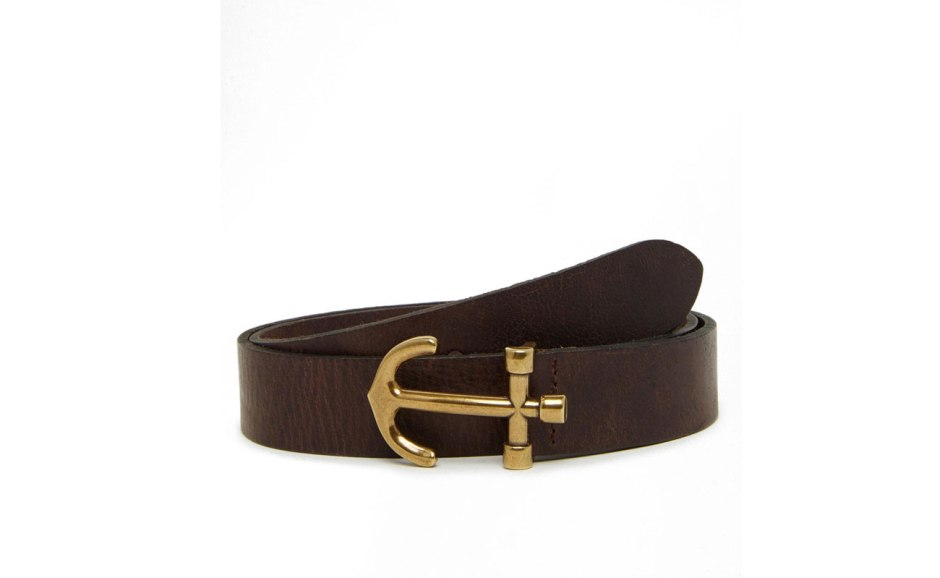 ASOS Leather Belt In Brown With Anchor Buckle