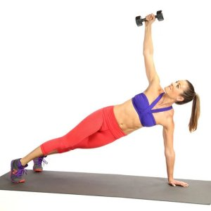 Side Plank With Dumbbell Raise