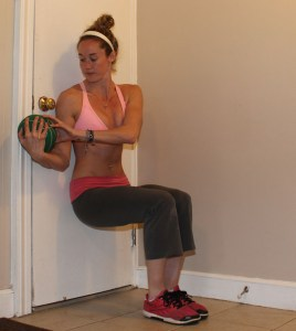 Wall Sit With Medicine Ball