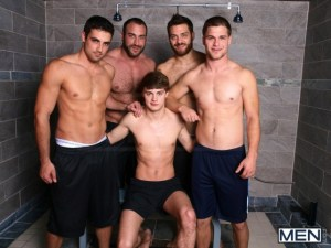 Hunter Page is just irresistible to Jimmy Johnson, Tommy Defendi, Jack King and Spencer Reed. (Jizz Orgy)