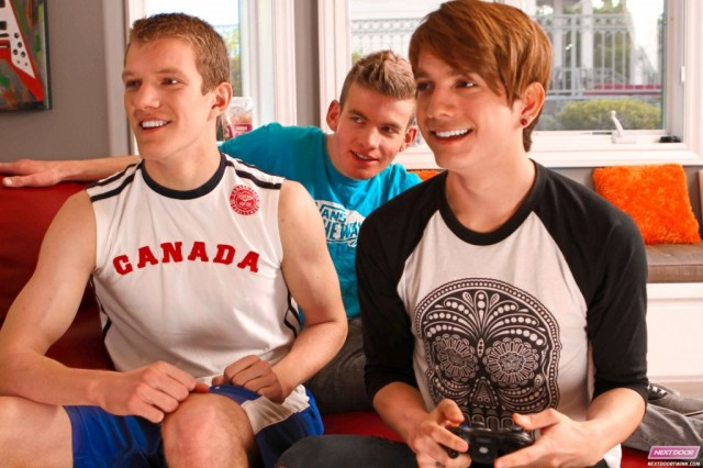 Anderson Lovell, Mark Gabriel, and Cody Parker play some video games (Next Door Twink)