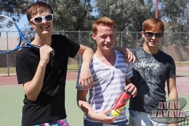 Jason Valencia, Ryker Madison and Billy London play twinky tennis (Bare Twinks)