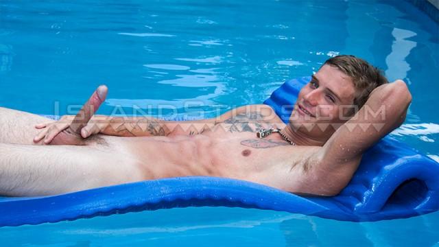 Ripped stud Wayne has some water fun. (Island Studs)