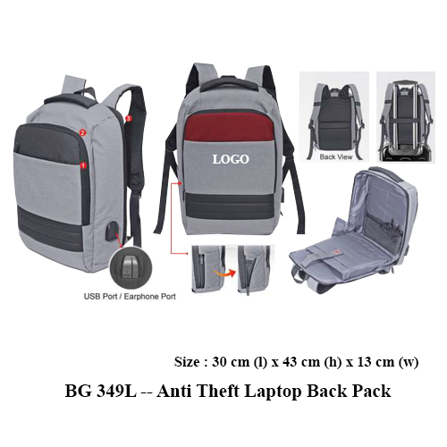 BG 349L — Anti Theft Laptop Back Pack