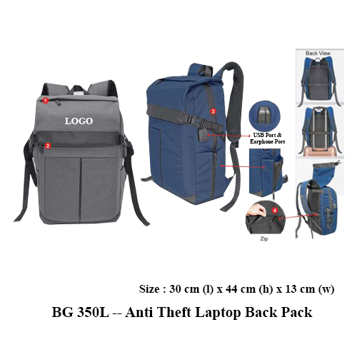 BG 350L — Anti Theft Laptop Back Pack