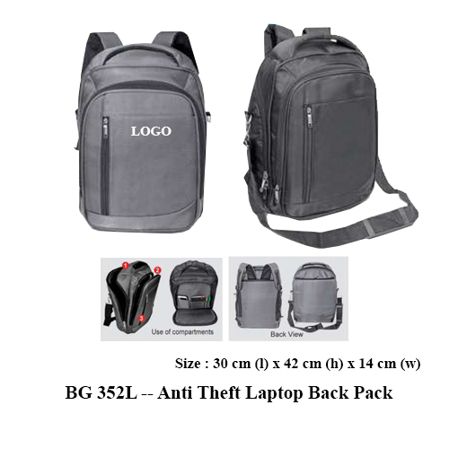 BG 352L — Anti Theft Laptop Back Pack