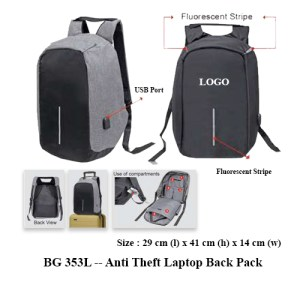 BG 353L -- Anti Theft Laptop Back Pack