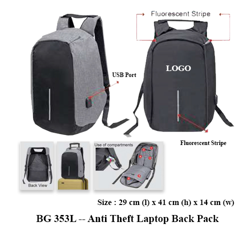 BG 353L — Anti Theft Laptop Back Pack