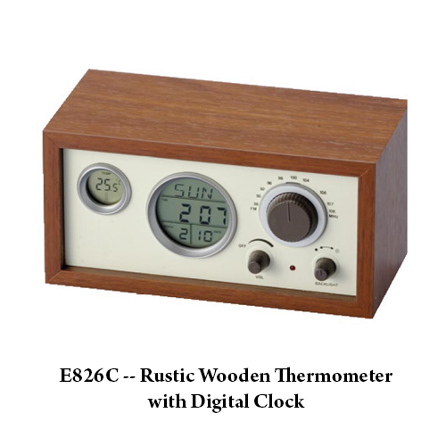 E826C — Rustic Wooden Thermometer with Digital Clock