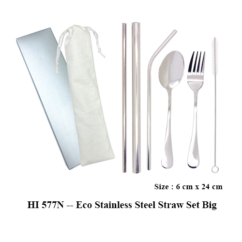 HI 577N — Eco Stainless Steel Straw Set Big