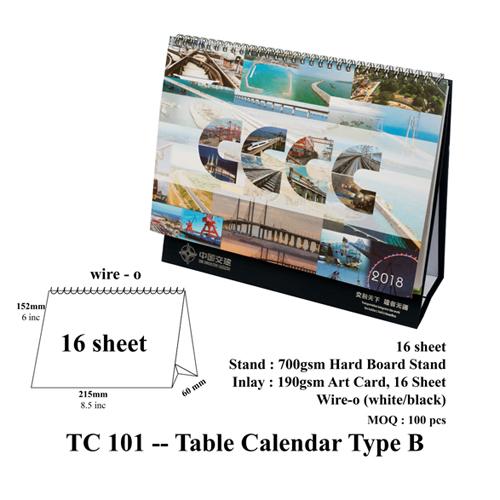 TC 101 — Table Calendar Type B