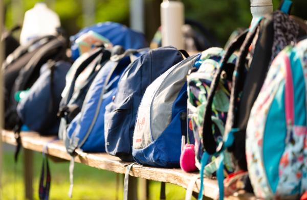 Backpacks lined up