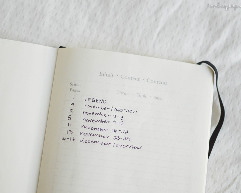 bullet journal - table of contents