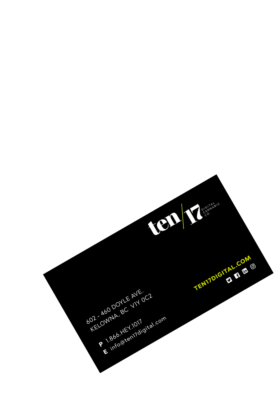 Ten/17 black business card with logo and company information