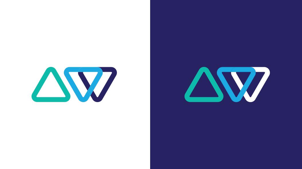 Advanced WP logo symbol mark on white and blue backgrounds