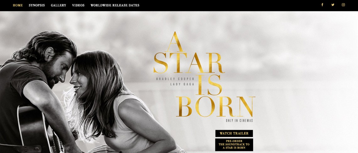 Screenshot of the A Star Is Born movie website homepage.