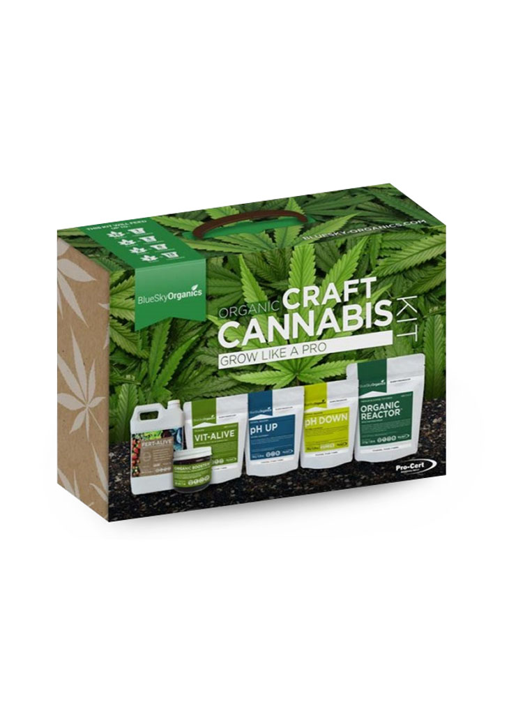 BlueSky Organics Craft Cannabis Kit packaging with white text on a cannabis leaf background, and images of the products inside