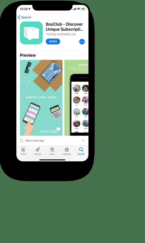 A Year of Boxes Box Club App Mockup