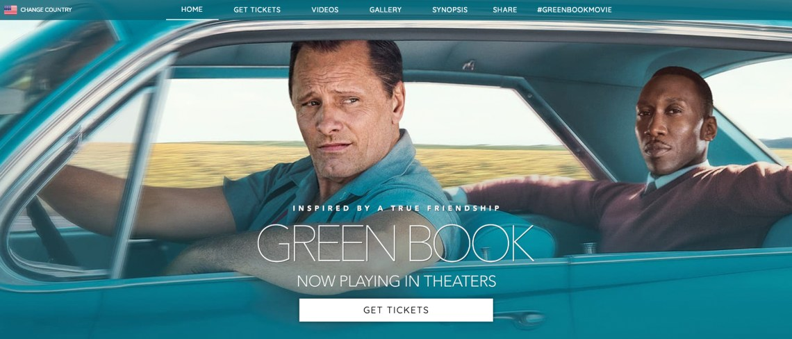 Screenshot of the Green Book movie website homepage.