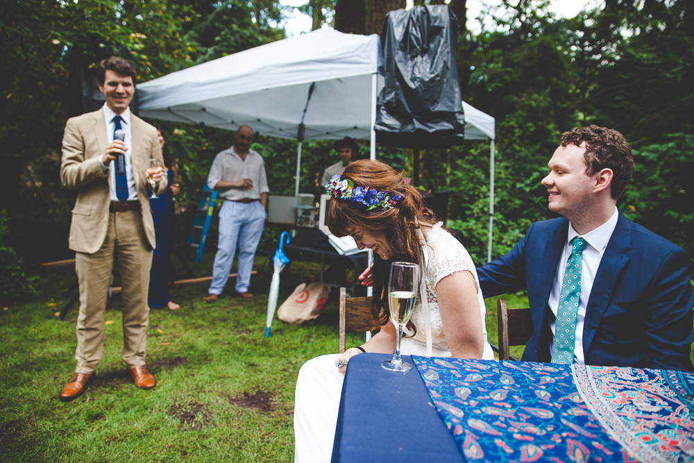 Tessa + Ben's Colorful Forest Cabin Wedding
