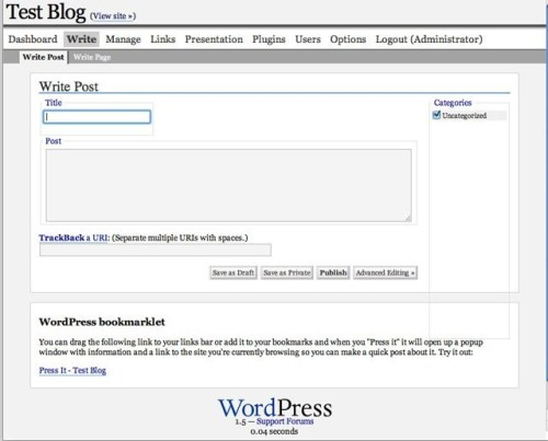 WordPress 1.5 - New Post