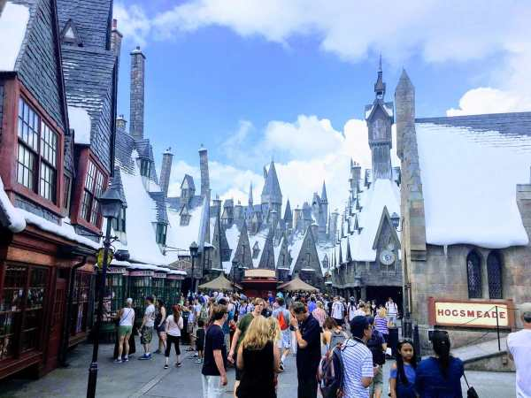Looking down the street of Hogsmeade