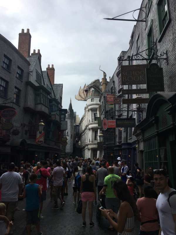 Looking down the street of Diagon Alley.