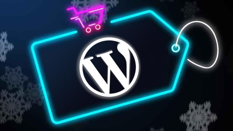 Neon Sale Tag with WordPress Logo