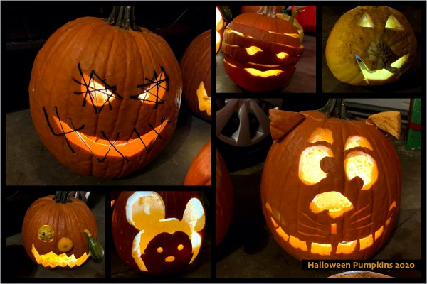 Six Carved Pumpkins