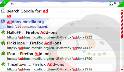 URL bar auto complete with snowman.