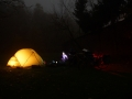 Night photo of our tent.