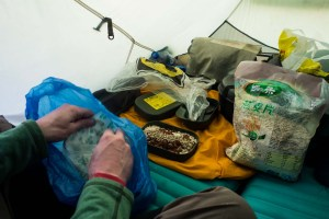 Food in tent