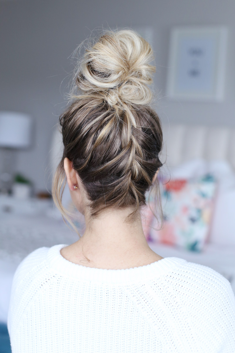 How To French Braid Into A Top Knot Twist Me Pretty