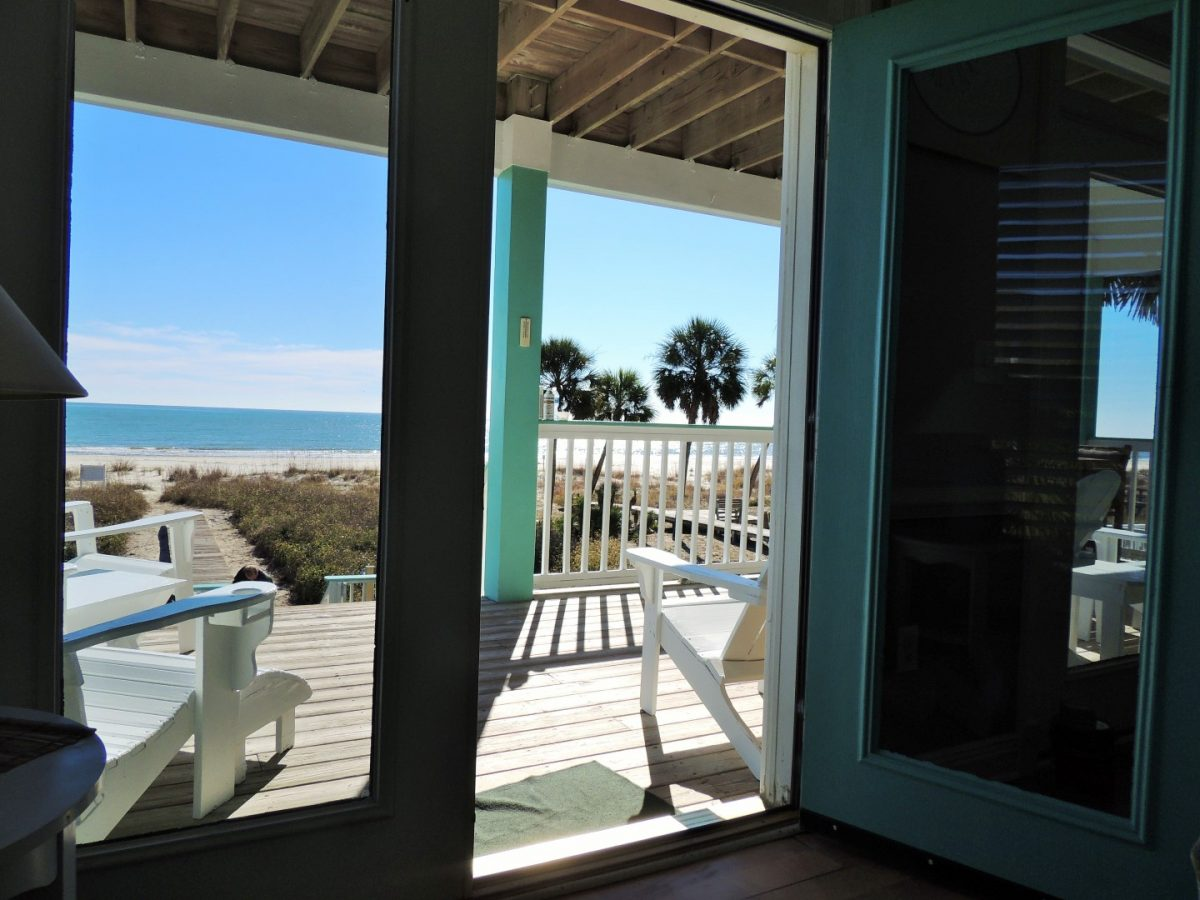 Two Palms Villa Looking out From Living Room to Main Deck and Gorgeous View of Beach