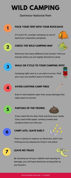 Infographic showing Dartmoor wild camping tips