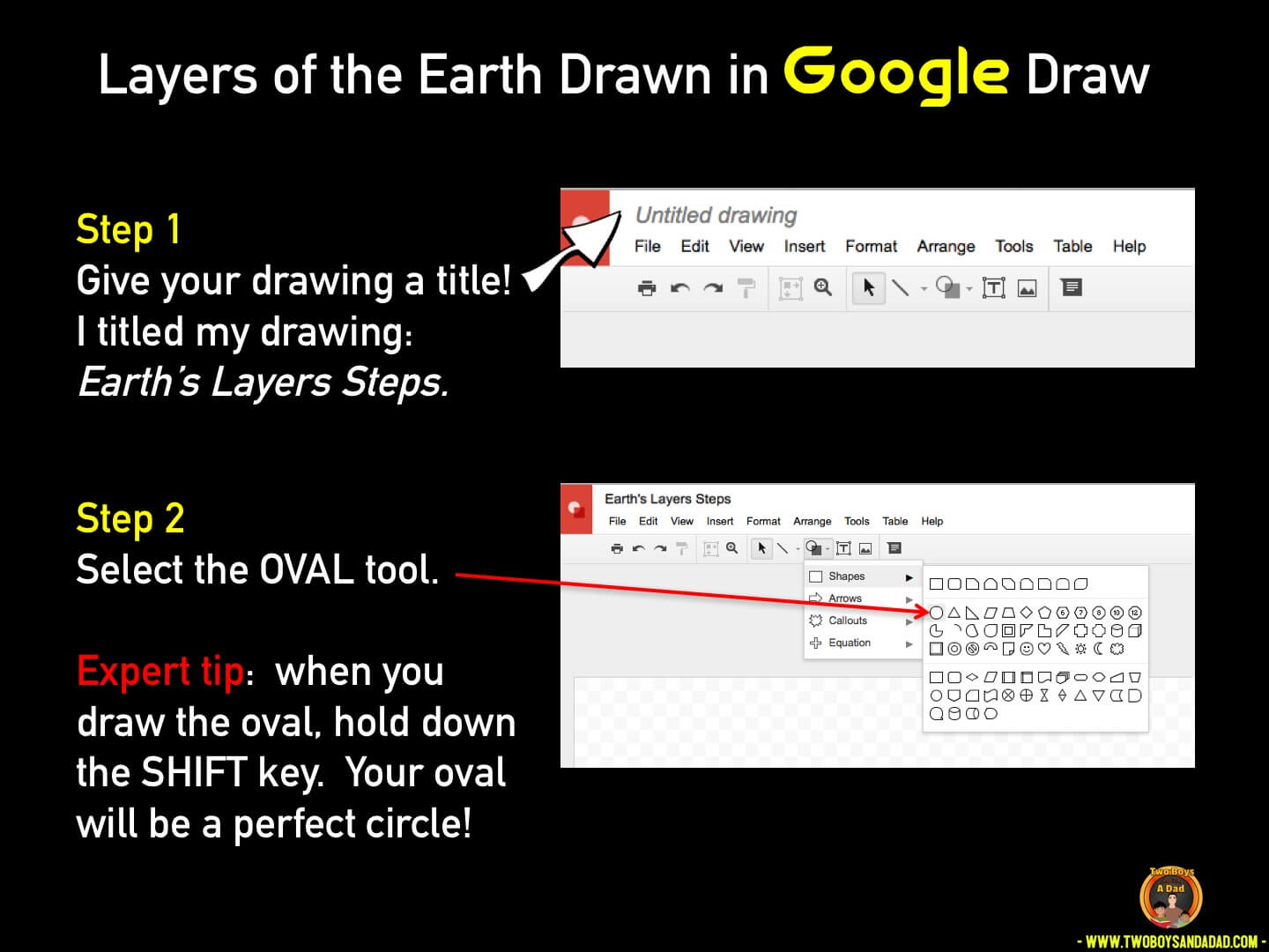 Use Google Draw in the classroom step 1 and 2